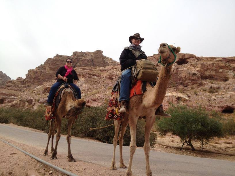 Riding camels in Petra